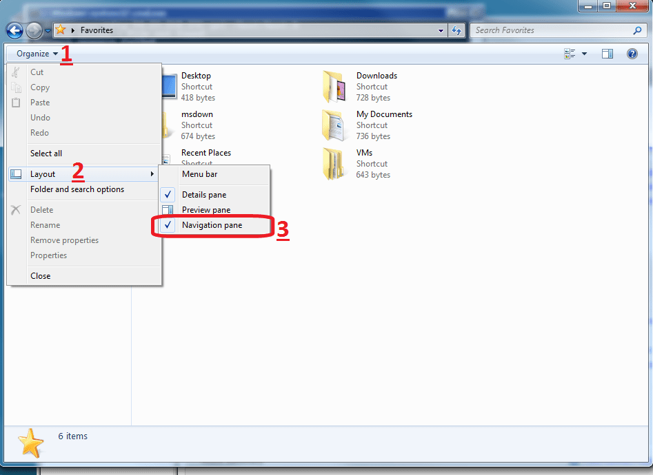 remove favorites in windows