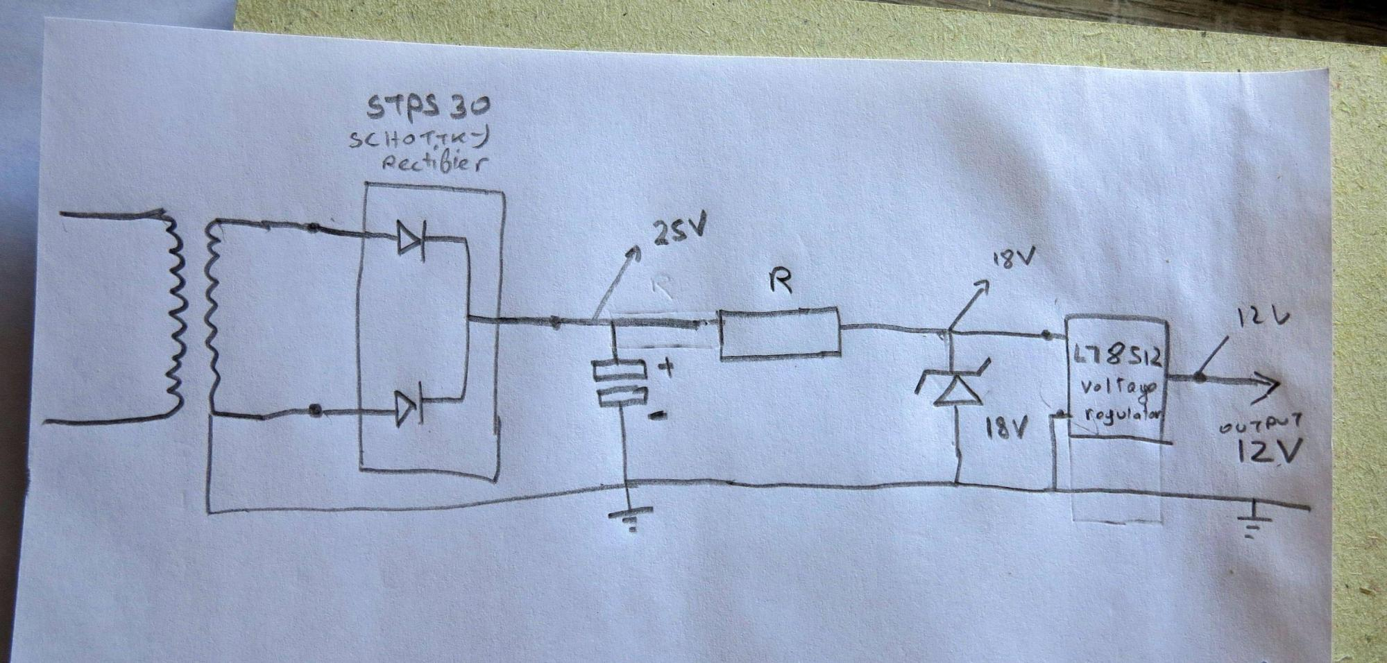 hight resolution of simple rectified voltage regulator not giving enough power
