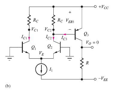 Differential pair output to voltage amplifier transistor