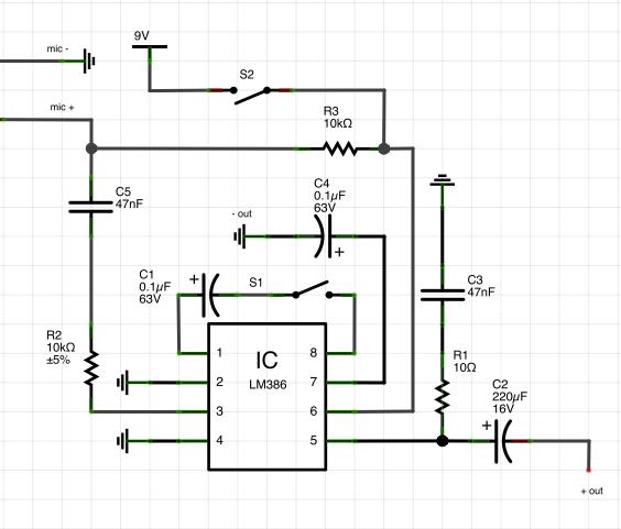 condenser microphone preamp schematic