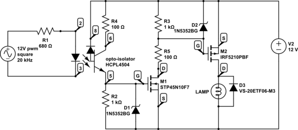 High frequency p-channel mosfet pwm dimmer problem