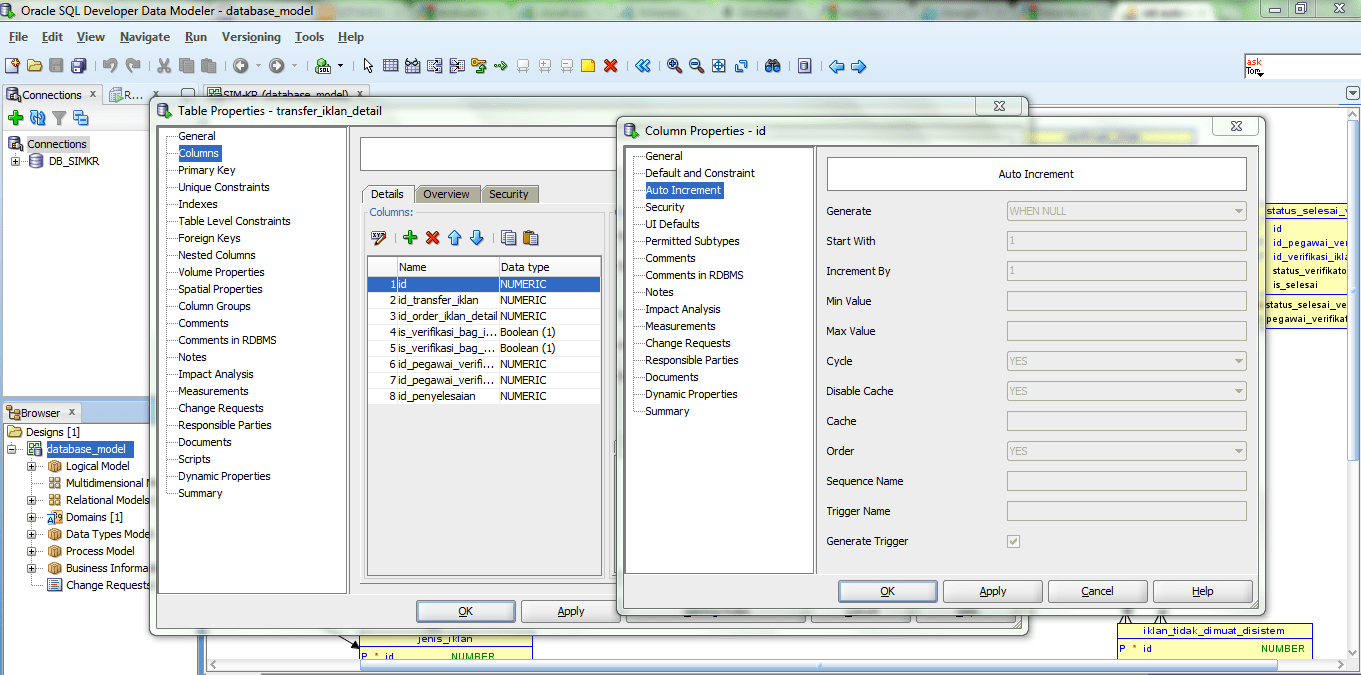 hight resolution of how to set auto increment column with sql developer