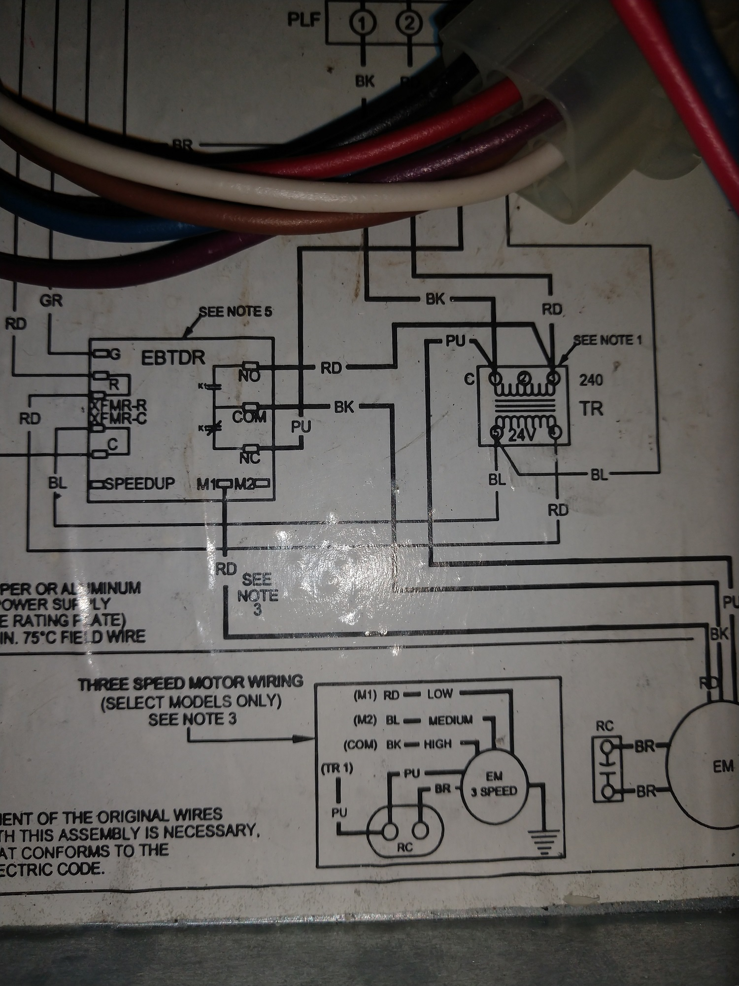 hight resolution of the old motor has five wires plus a ground the wiring diagram is at the bottom of the picture labeled as three speed motor wiring old