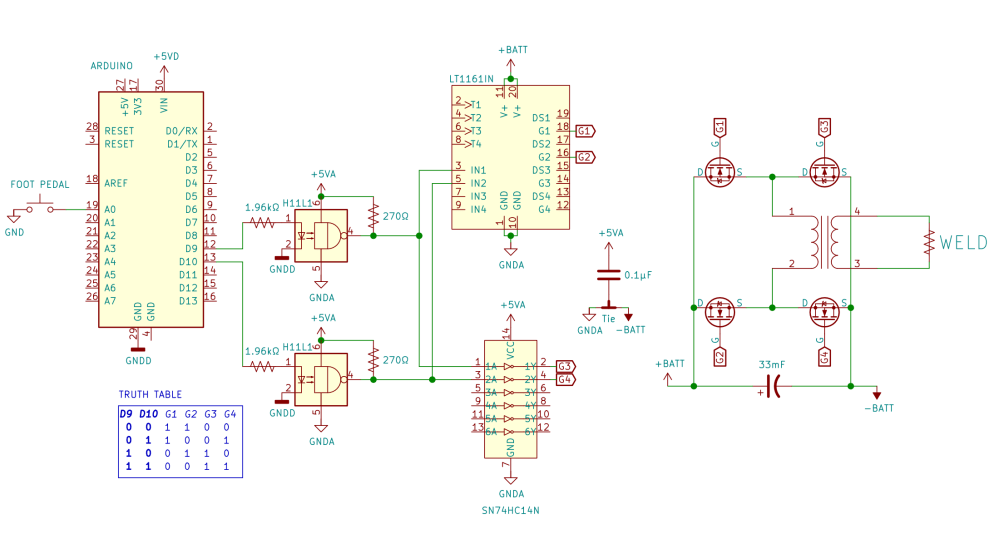 medium resolution of  foot pedal which tells an arduino when to briefly turn on an h bridge made of beefy n channel mosfets hooked up across a big 33mf 100v capacitor that