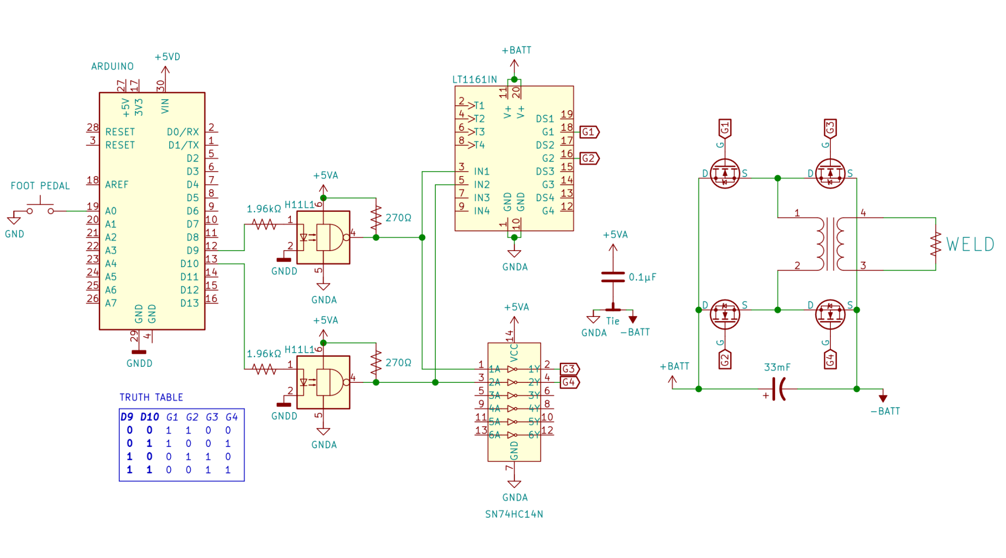 hight resolution of  foot pedal which tells an arduino when to briefly turn on an h bridge made of beefy n channel mosfets hooked up across a big 33mf 100v capacitor that