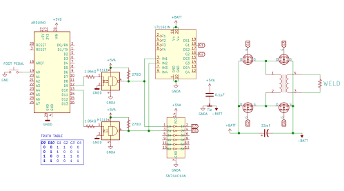 small resolution of  foot pedal which tells an arduino when to briefly turn on an h bridge made of beefy n channel mosfets hooked up across a big 33mf 100v capacitor that