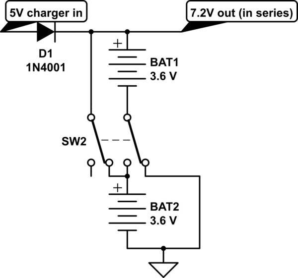 Charging batteries in parallel when they are connected in