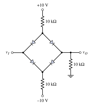 Diode Bridge with differential voltages. Transfer function