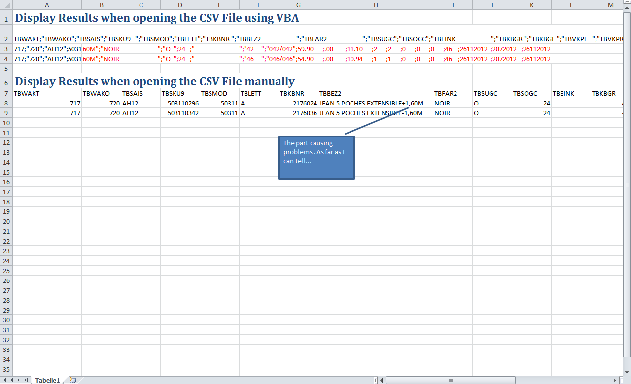Opening Csv In Excel Using Vba Causes Data To Appear In