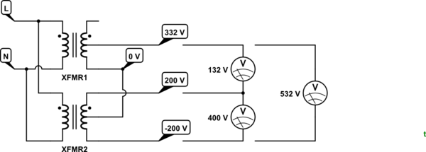How to convert 2 phase power supply to 3 phase power