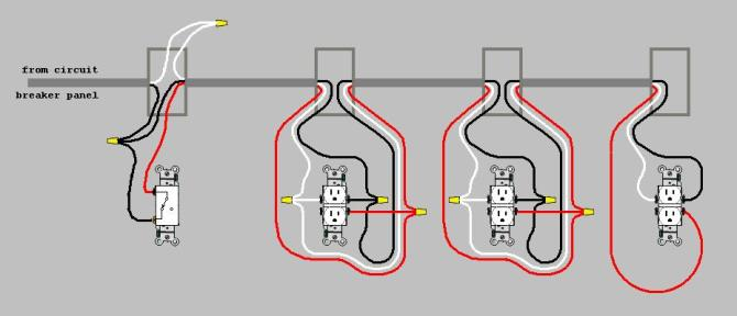 wiring 2 or 3 outlets controlledone switch  home