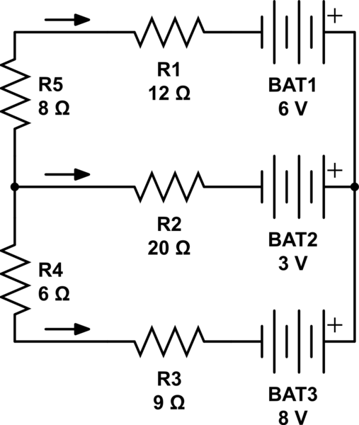 Direction of current through a circuit with multiple