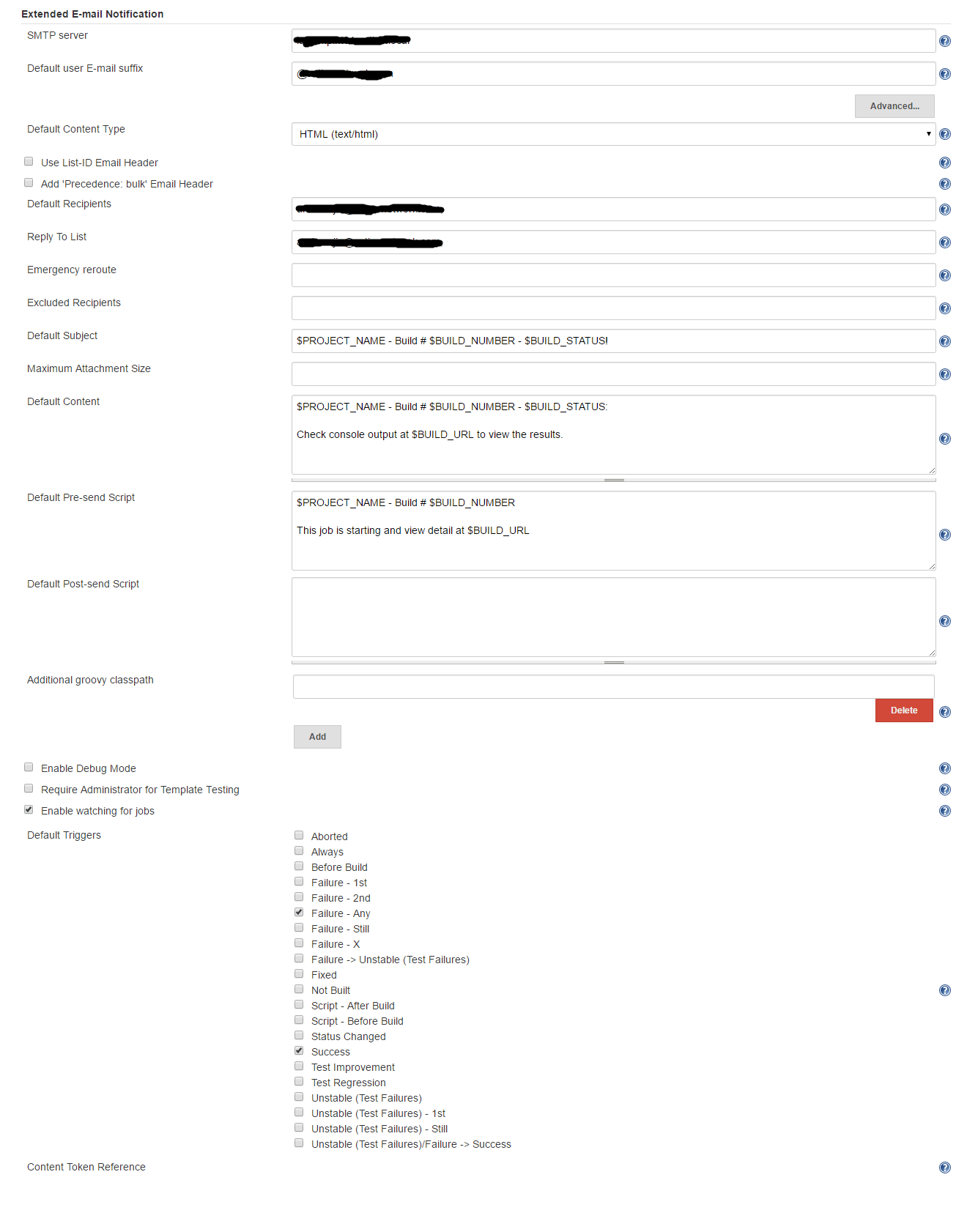 Jenkins email-ext not sending mails out and output