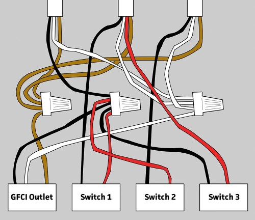 small resolution of wiring for gfci and 3 switches in bathroom home improvement stack bathroom outlet wire size bathroom outlet wiring