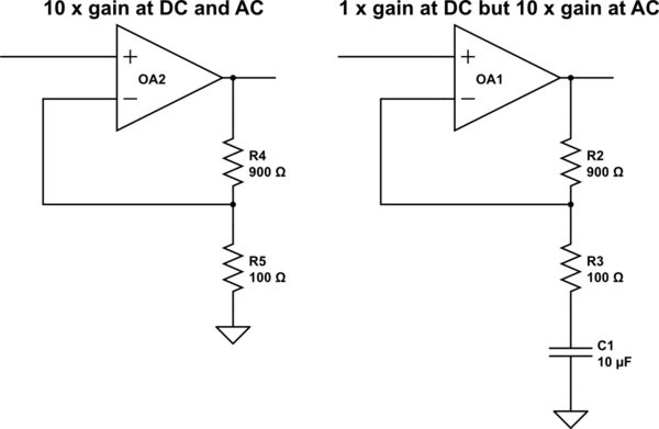 How to remove the DC offset in a cascaded op-amp amplifier