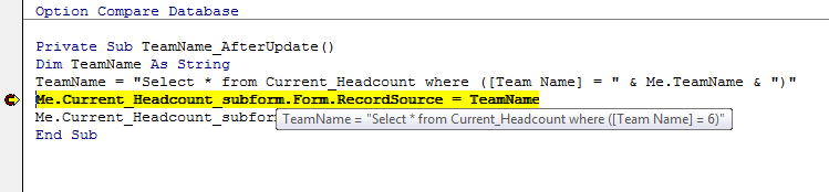 Data Type Mismatch In Access User Selection Form