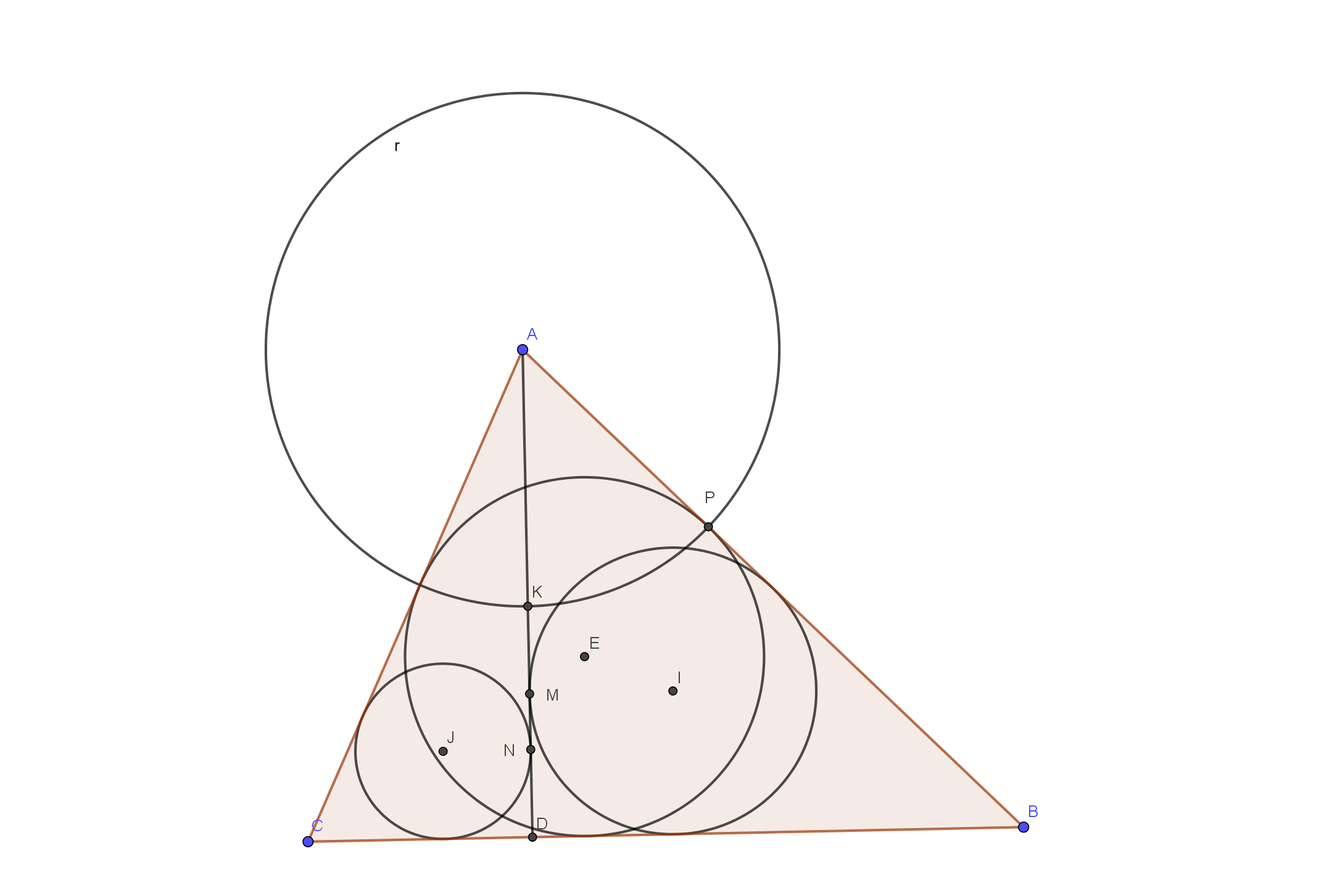 Hard geometry question (circles and triangles