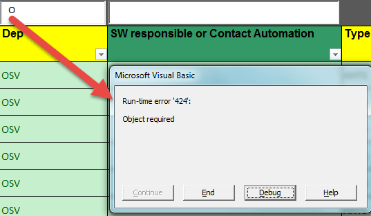 vba - Excel Run Time Error 424 - Object required - Stack Overflow