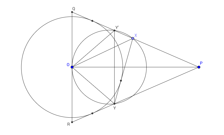 Euclidean geometry: Given two tangents $PM$, $PN$ to a