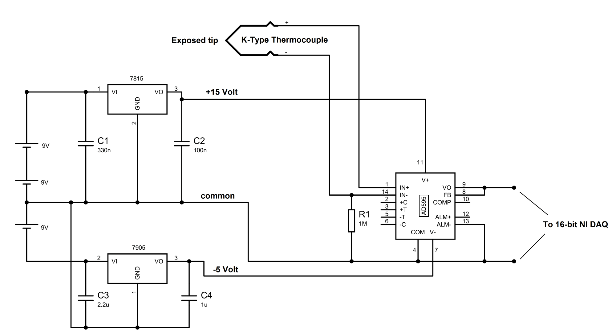 hight resolution of ad595 thermocouple amplifier