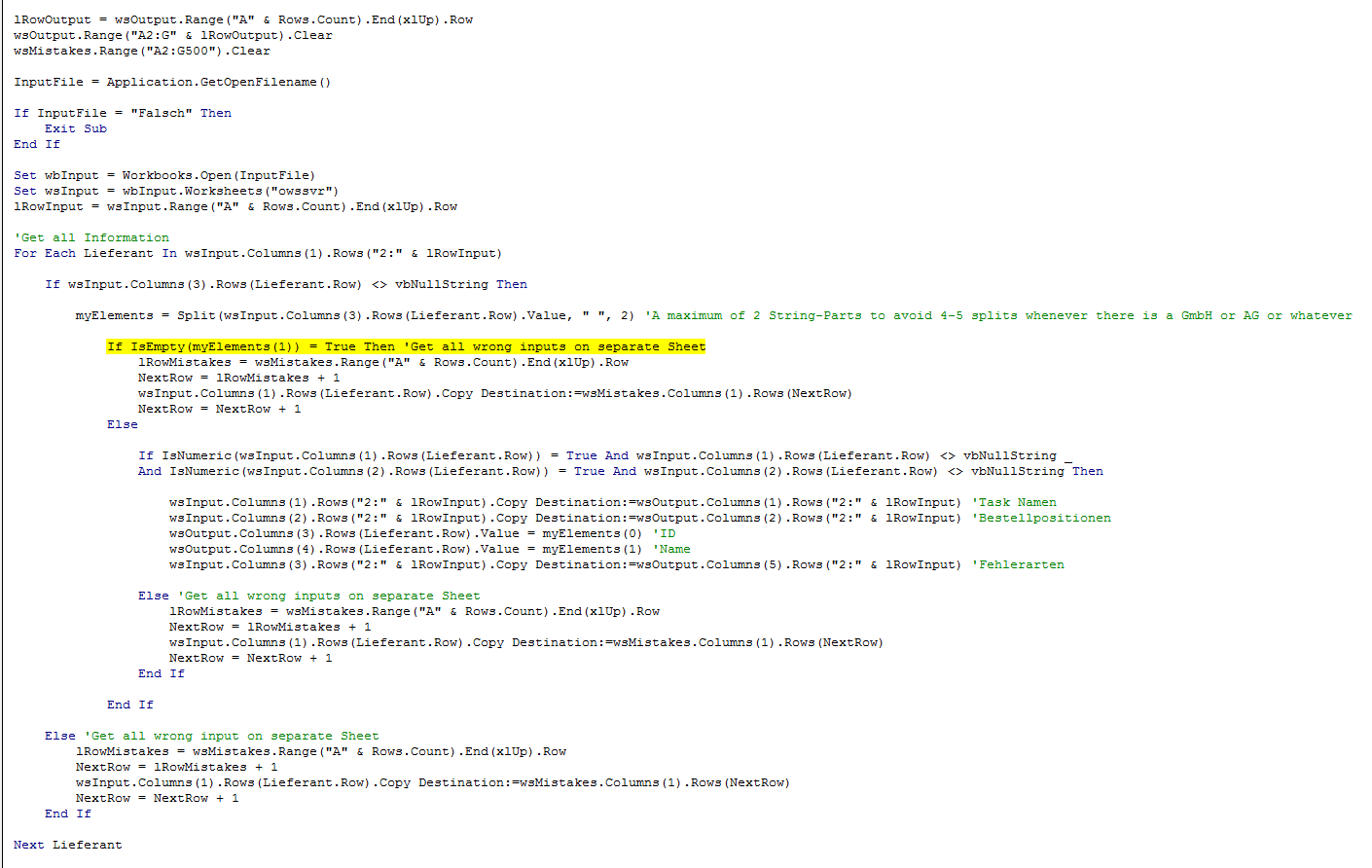 Vba Runtime Error 9 When Checking Whether String Has Two Parts
