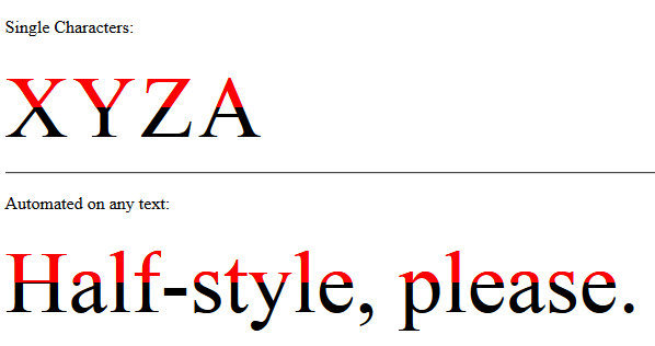 Horizontal Half Parts - No Text Shadow