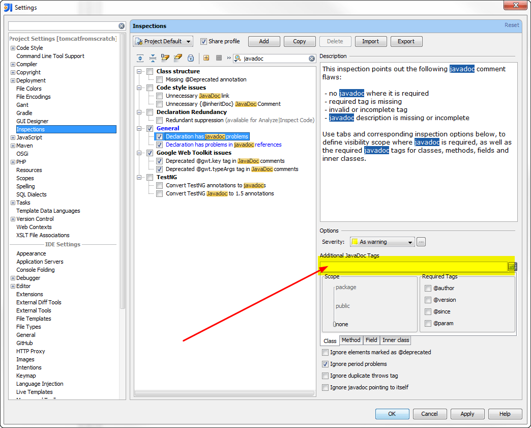 How To Remove An Custom Javadoc Tag From Intellij Idea