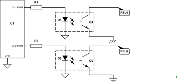 Reading and writing analog voltages to two outputs of a