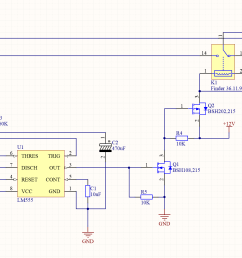 555 timer in monostable mode with reset on the same momentary button [ 1781 x 1013 Pixel ]