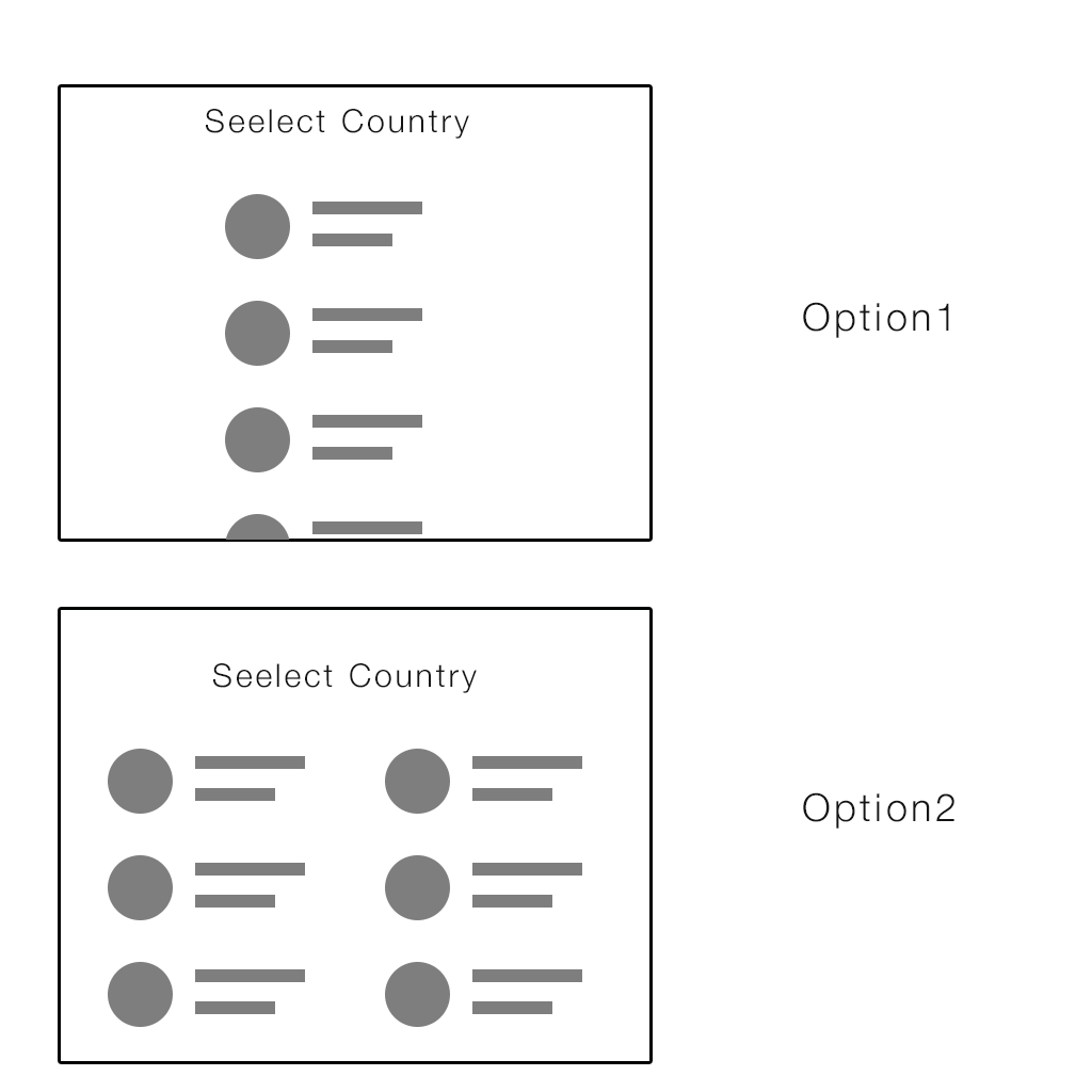 Selecting country in a mobile/tablet landscape mode vs