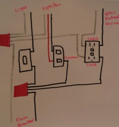 electrical taking power from double light switch to gfci outlet rh diy stackexchange com double light switch wiring diagram nz double light switch wiring  [ 1127 x 1110 Pixel ]