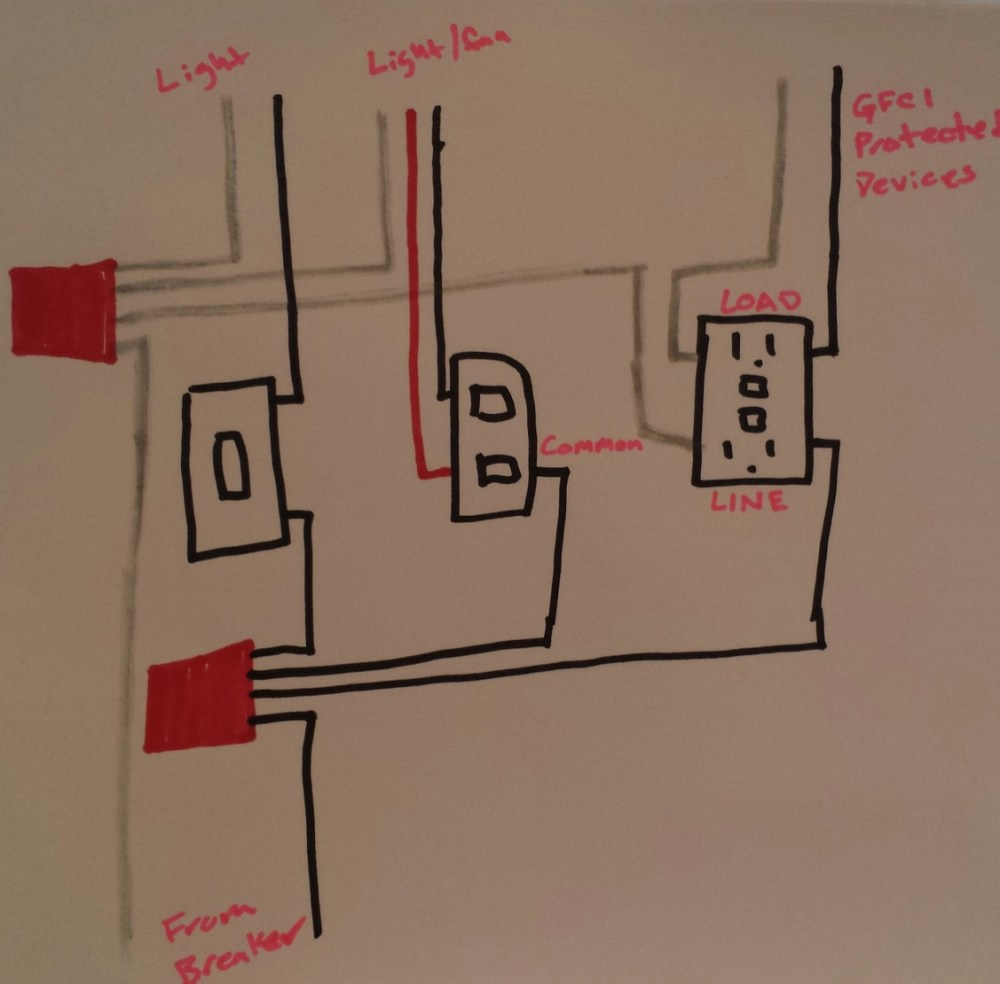 medium resolution of electrical taking power from double light switch to gfci outlet rh diy stackexchange com double light switch wiring diagram nz double light switch wiring