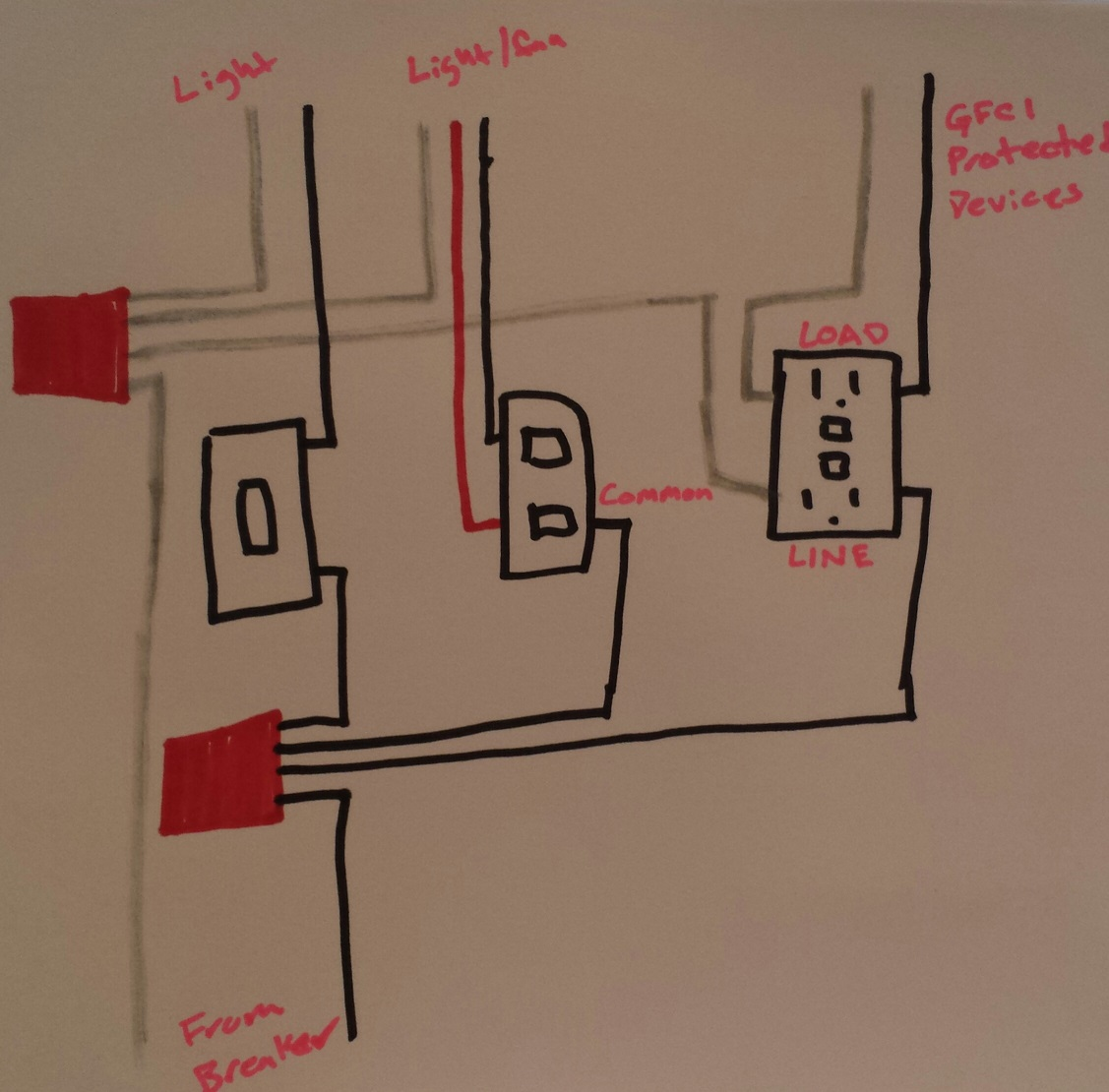 hight resolution of electrical taking power from double light switch to gfci outlet rh diy stackexchange com double light switch wiring diagram nz double light switch wiring