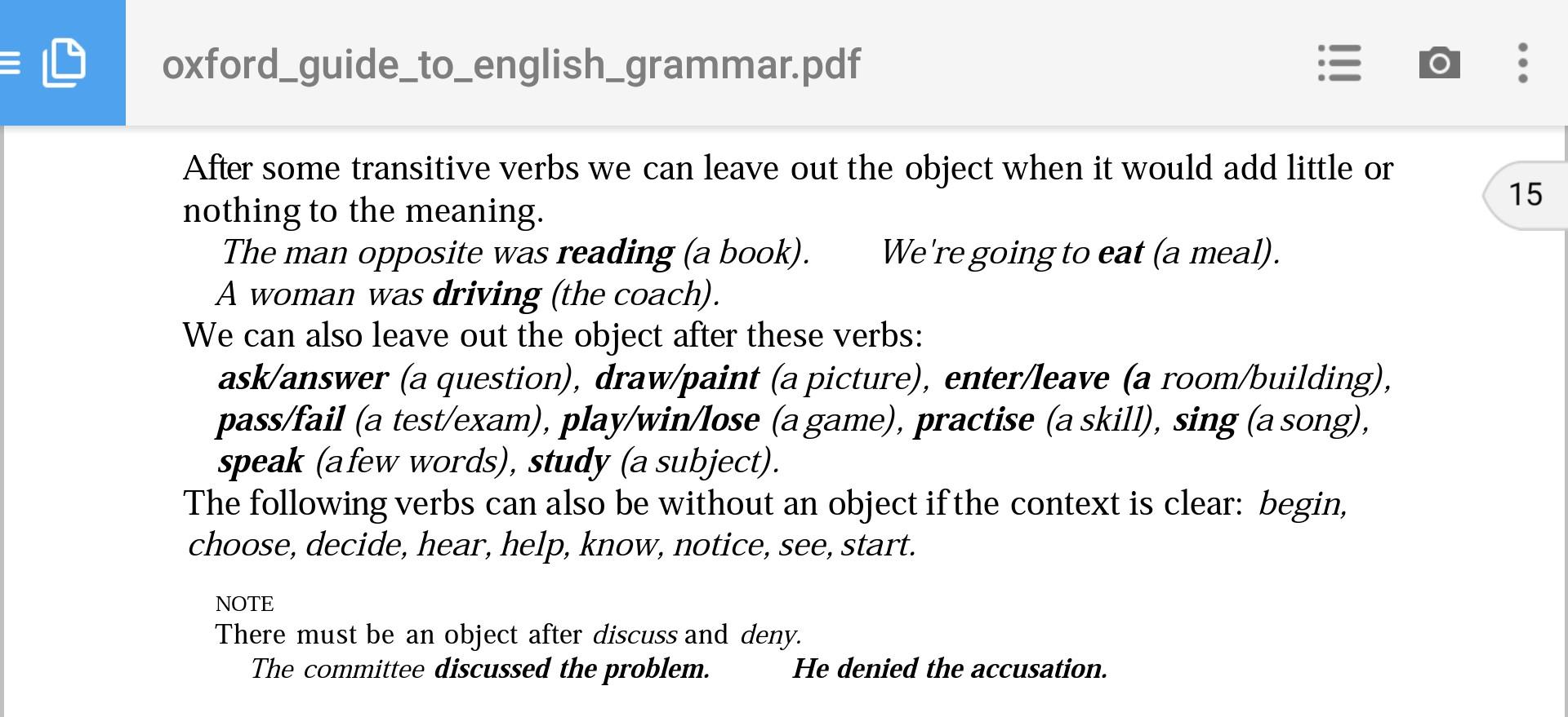 Transitive Verbs Versus Intransitive Verbs