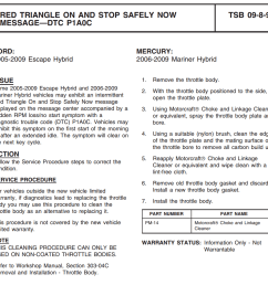 that i had not seen regarding 2008 ford escapes i googled the title red triangle on and stop safely now message dtc p1a0c and downloaded the pdf  [ 1044 x 1015 Pixel ]