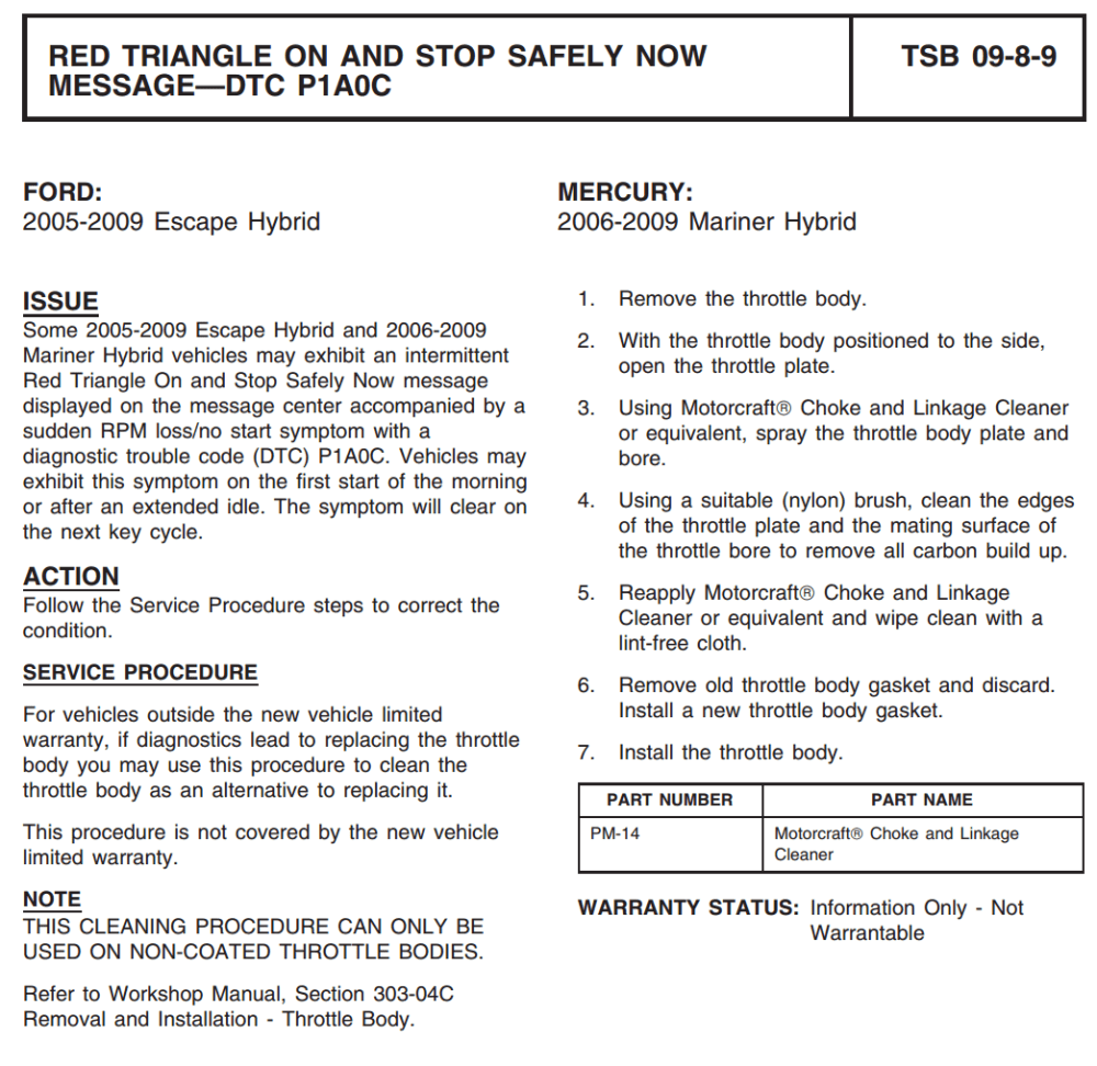 medium resolution of  that i had not seen regarding 2008 ford escapes i googled the title red triangle on and stop safely now message dtc p1a0c and downloaded the pdf