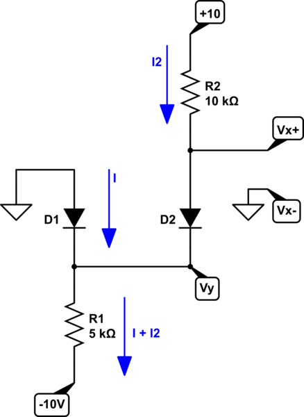 Analyze a circuit with two diodes and two voltage rails