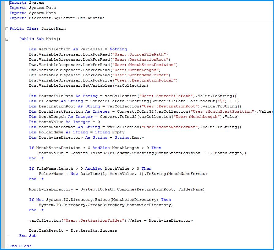 Script Task  Code