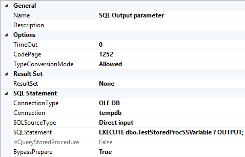 Specify OUTPUT clause and parameter place holder