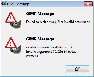 gimp failed to resize