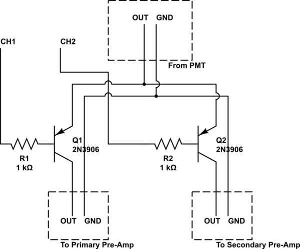 Switching input BNC signal to two output BNC signals using