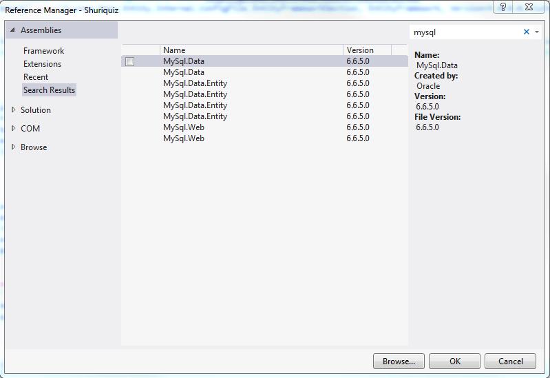 MySQL connection in ASP.NET MVC 4 and Entity Framework 5.0