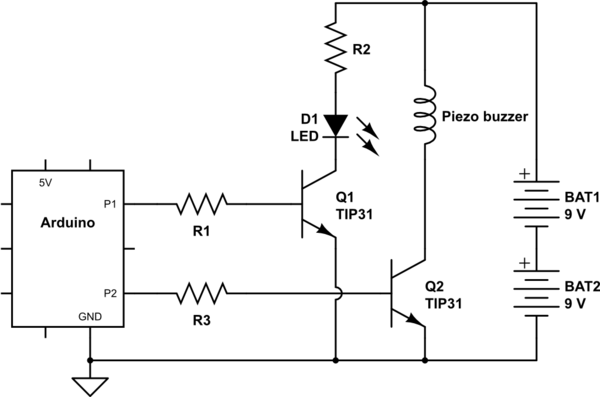 Arduino: Common Ground Issue? Powering Buzzer, LEDs via