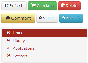 Buttons and links of different colours, with both red, white and black icons next to them