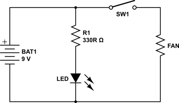 How to power 12V fan and 3V LED with a 9V battery