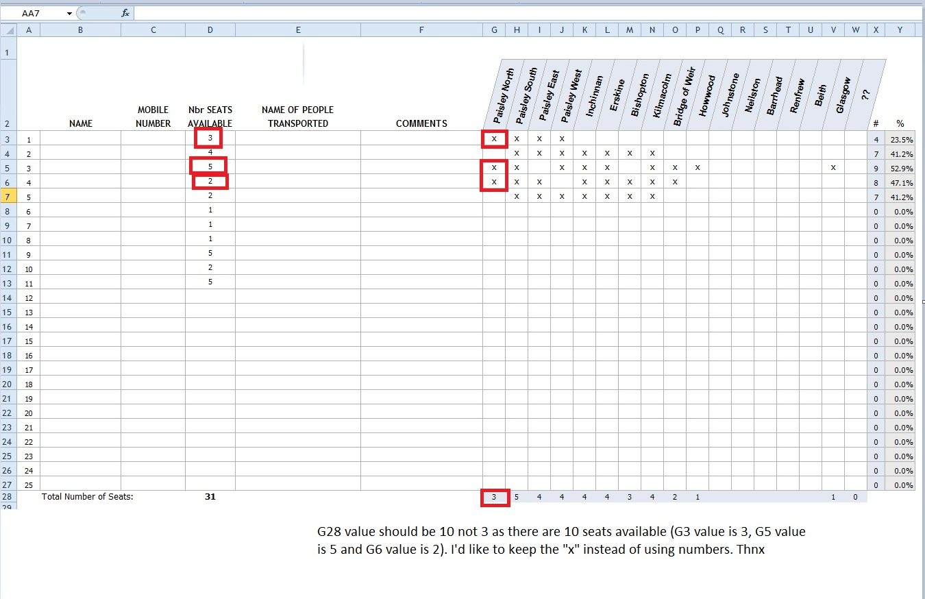 Excel Giving Another Cell Value To An X Check In A Cell