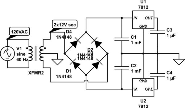 Schematic 7812 Voltage Regulator