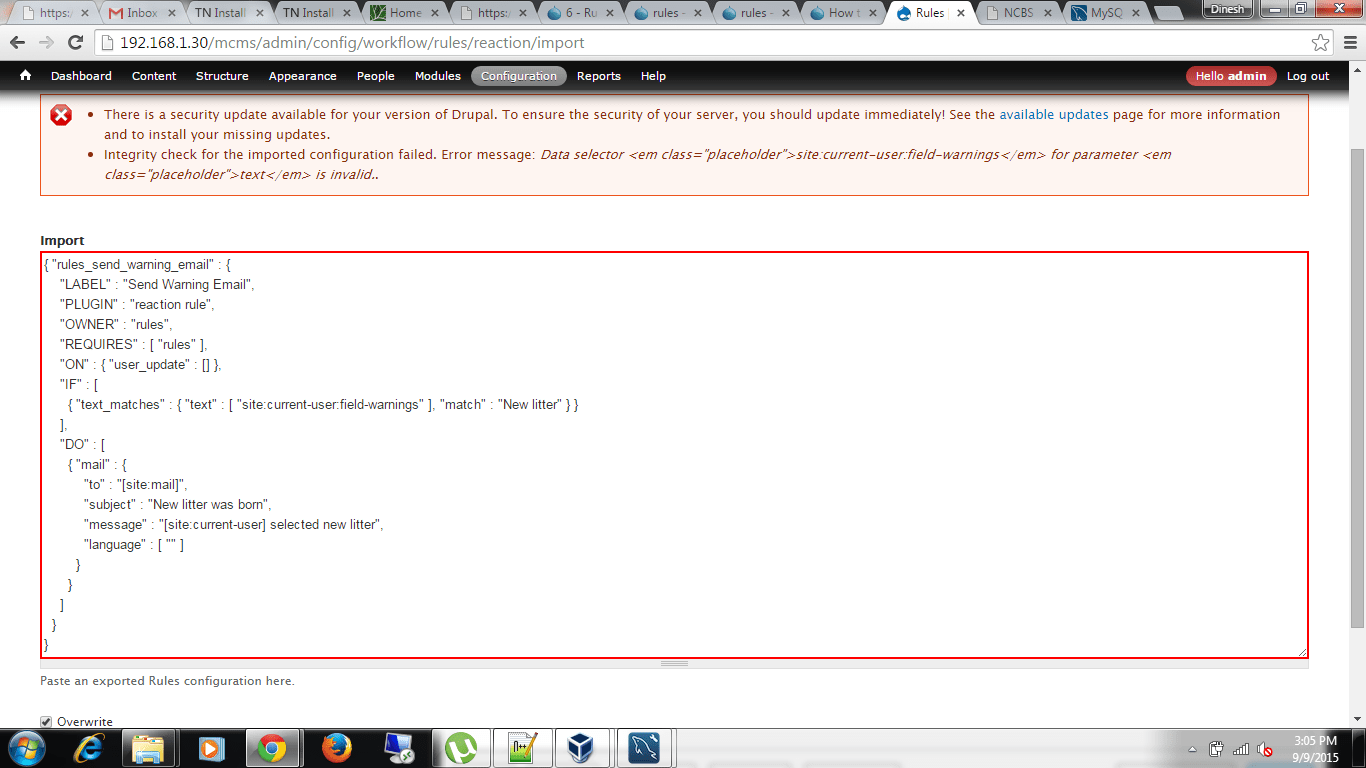 How To Resolve The Error Encountered While Trying To Import A Rule Using The Rules Module