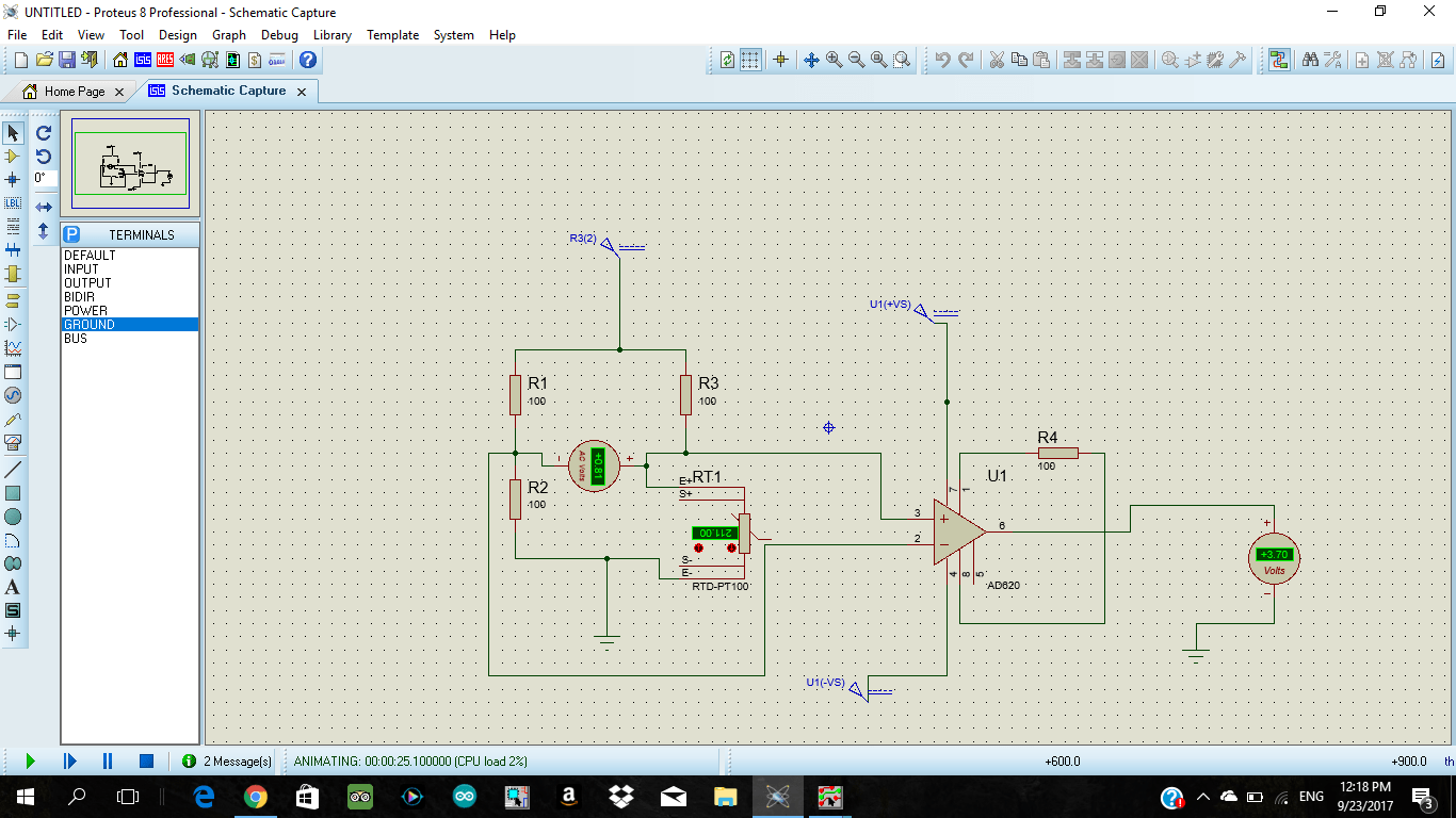 hight resolution of 2 wire rtd pt100 in a wheatstone bridge using ad620