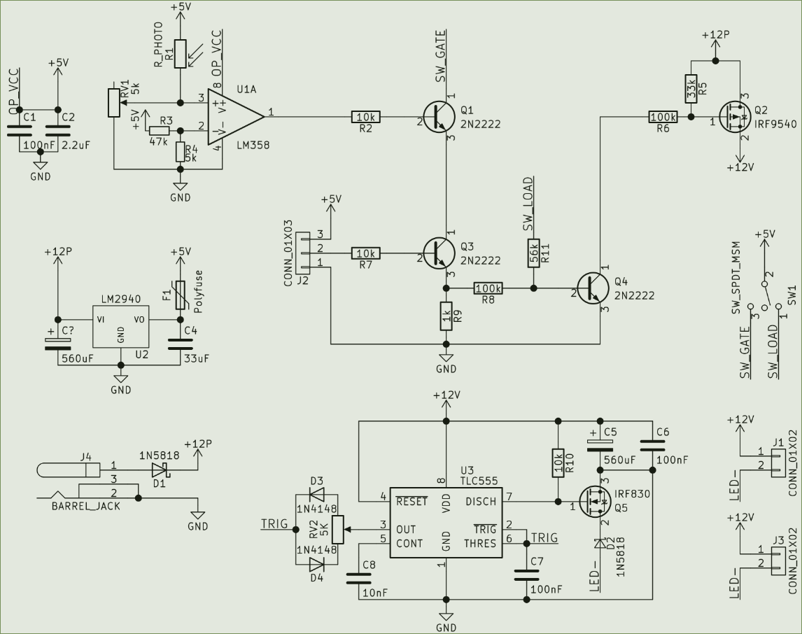 hight resolution of circuit comprising a 5v voltage regulator comparator with photo resistor an and gate combining